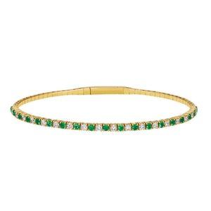 14k natural emerald and diamond flexible bangle